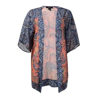 Style & Co Women's Printed Chiffon Open Front Cardigan - paisley lounge
