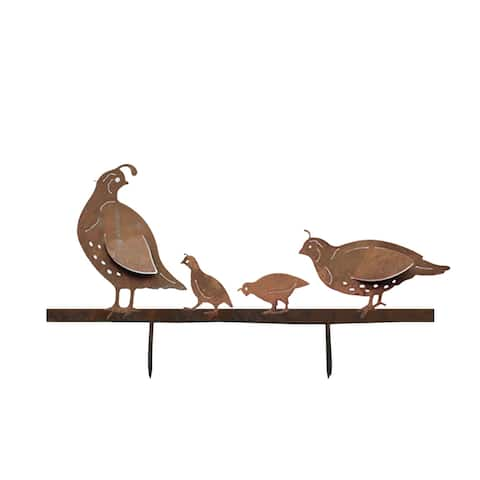 California Home and Garden Metal Rustic Look Rust Quail Family