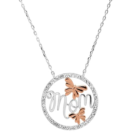 Crystaluxe 'Mom' Script Flower Pendant with Swarovski Crystals in 14K Rose Gold-Plated Sterling Silver - White