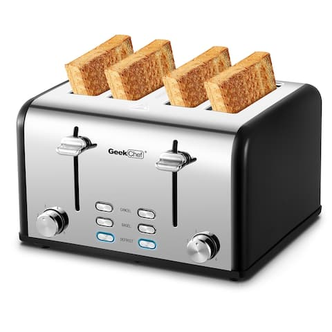 Stainless Steel Extra-Wide Slot Toaster with Dual Control Panels