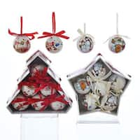 Club Pack of 12 White and Red Tree/Star Decorative Design Ornaments 6""
