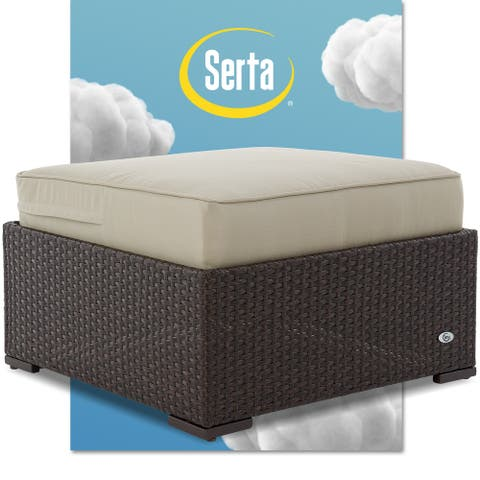 Serta Laguna Outdoor Ottoman - Brown Wicker
