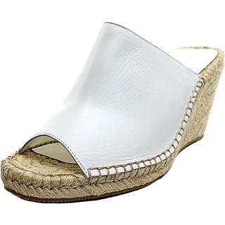 Enzo Angiolini Dakan Women Open Toe Leather White Wedge Heel