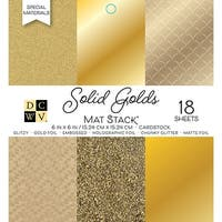 "Dcwv Cardstock Stack 6""X6"" 18/Pkg-Golds W/Specialty Finishes"