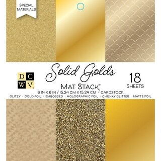 """Dcwv Cardstock Stack 6""""X6"""" 18/Pkg-Golds W/Specialty Finishes"""