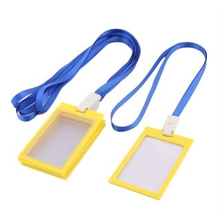 Office Neck String Lanyard ID Card Holder Case Container Dark Blue Yellow 5 Pcs
