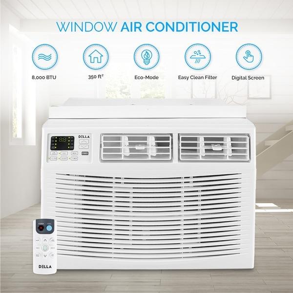 shop della window mounted 8000 btu mini air conditioner indoor 115v ac remote controled up to. Black Bedroom Furniture Sets. Home Design Ideas