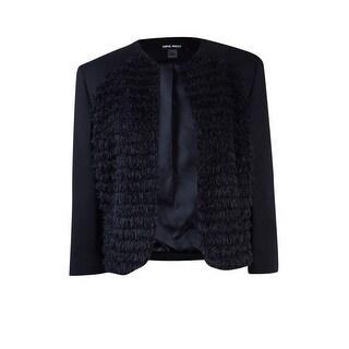 Nine West Women's Eyelash Ponte Flyaway Jacket - Black