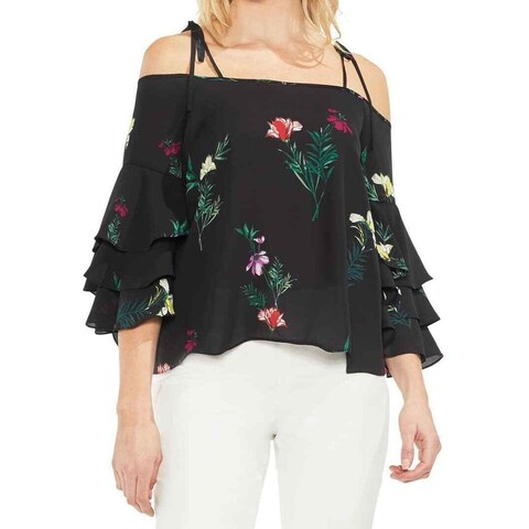 Vince Camuto Black Womens Size S Tiered Bell-Sleeve Floral Blouse