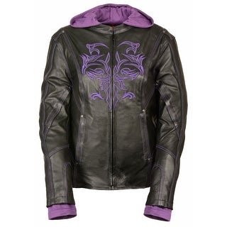 Womens 3/4 Length Leather Jacket with Reflective Tribal Detail (More options available)