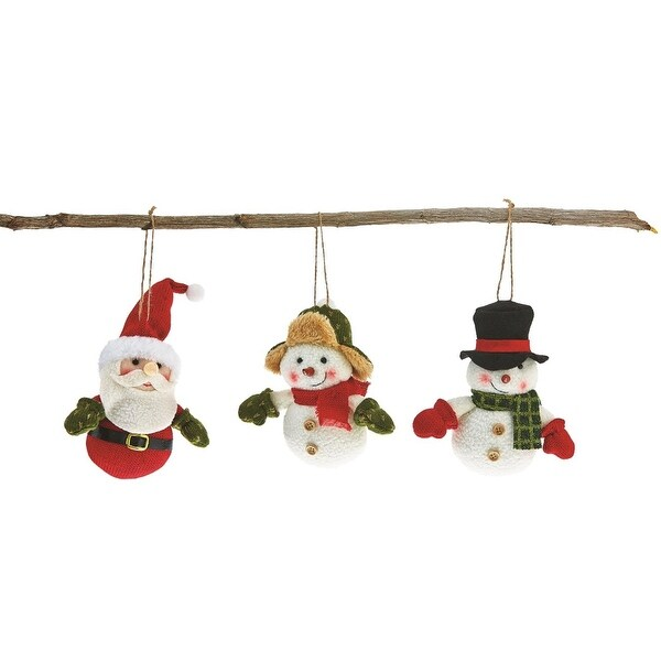 Pack of 6 Handmade Plush Santa Claus and Snowmen Christmas Figure Ornaments 6""