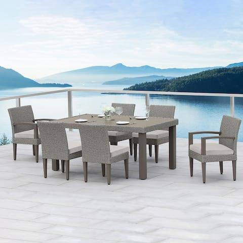 OVE Decors Sutton II 7-Piece Aluminum Frame Grey Rectangular Patio Dining Set with Light Grey Olefin Acrylic Cushions