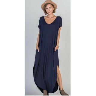 V-Neck Split Hem Pocketed Maxi Dress (More options available)