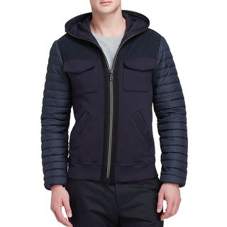 Duvetica Mixed Media Hoodie Down Fill Cardigan Jacket Navy Blue Small S