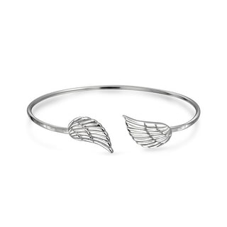 Bling Jewelry Sterling Silver Angel Wing Feather Stackable Bangle Bracelet