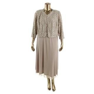 Jessica Howard Womens Plus Lace-Trim 2PC Cocktail Dress - 16W