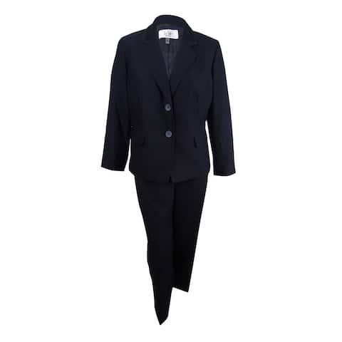 Le Suit Women's Two-Button Jacquard Pantsuit (4, Black) - Black - 4