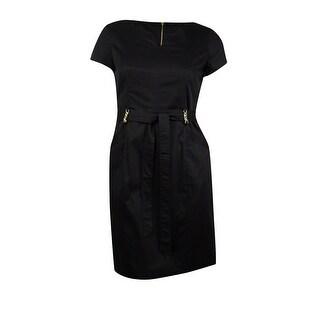 Ellen Tracy Women's Stagger Neck Pocket Dress