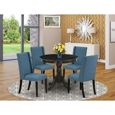 ANFL5-ABK-21 5-Pc Dining Table Set Included a Table & 4 Kitchen Chairs, Mineral Blue Linen Fabric, Wirebrushed Black Finish