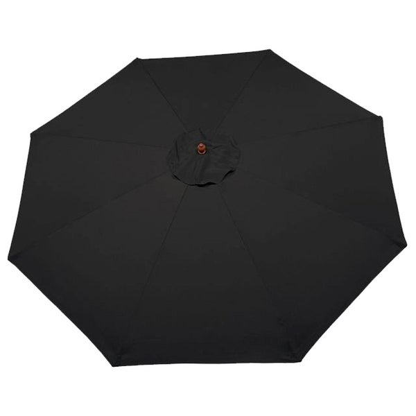 9' Outdoor Patio Market Umbrella - Black and Cherry Wood
