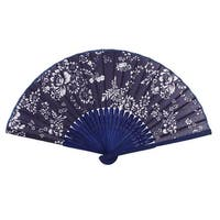 Unique Bargains Bamboo Ribs Flowers Pattern Chinese Minority Fabric Cover Foldable Hand Fan