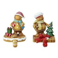 "Set of 2 Glittered Gingerbread Christmas Stocking Holders 5.25"" - Brown"