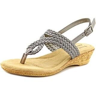 Easy Street Martina Women WW Open Toe Synthetic Gray Wedge Sandal