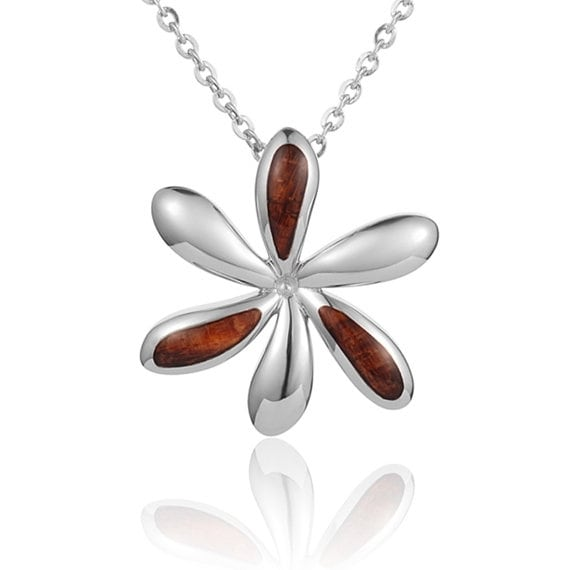 "Tiare Necklace Koa Wood Sterling Silver Pendant 18"" Chain"