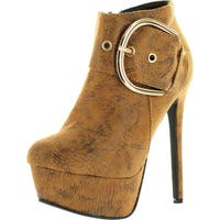 Cape Robbin Womens Wendy Fashion Ankle Booties With D Ring Buckle