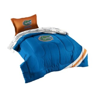 Officially Licensed UF Florida Gators 5 Piece Twin Size Comforter Set - Blue
