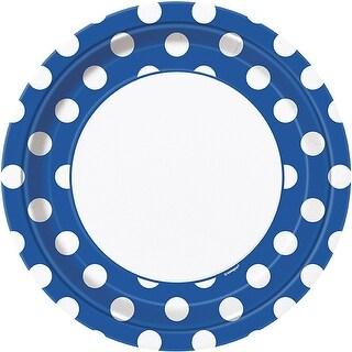 "Dinner Plates 9"" 8/Pkg-Royal Blue Decorative Dots"