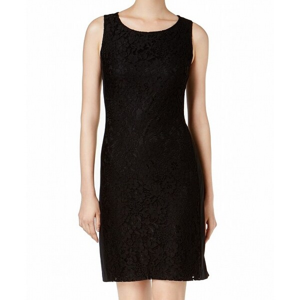 Shop Nine West Black Deep Women s Size 8 Floral Lace Sheath Dress ... ef9a9c303