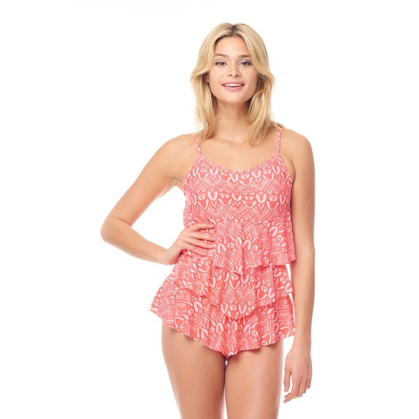 Sea Sand Swimwear Pink abstract Tiered One Piece Mio