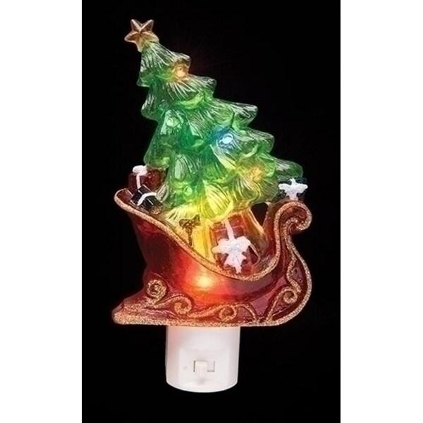 "7.5"" Sleigh with Christmas Tree and Presents Decorative Christmas LED Night Light"