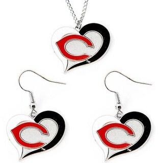 Cincinnati Reds Swirl Heart Necklace and Dangle Earring Set MLB Charm Gift