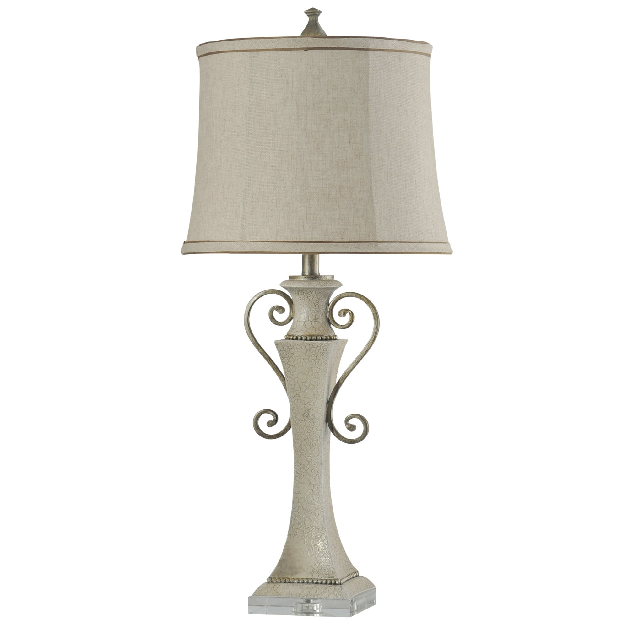 Delacora Sc L313610 Neihart 34 Tall Buffet Table Lamp With Softback Fabric Shade Crackled White Cream Overstock 25653136