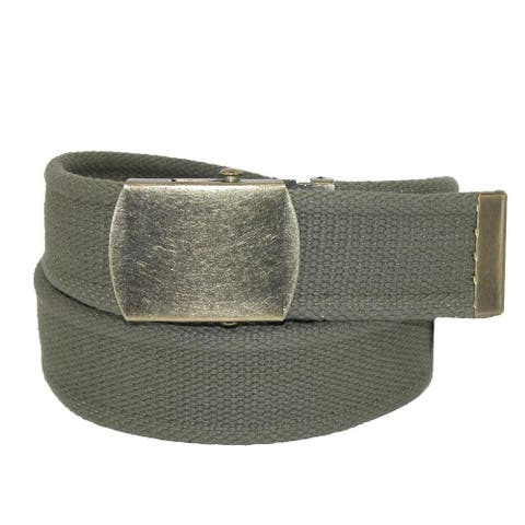 CTM® Women's Cotton 1.5 Inch Belt with Vintage Military Buckle - one size