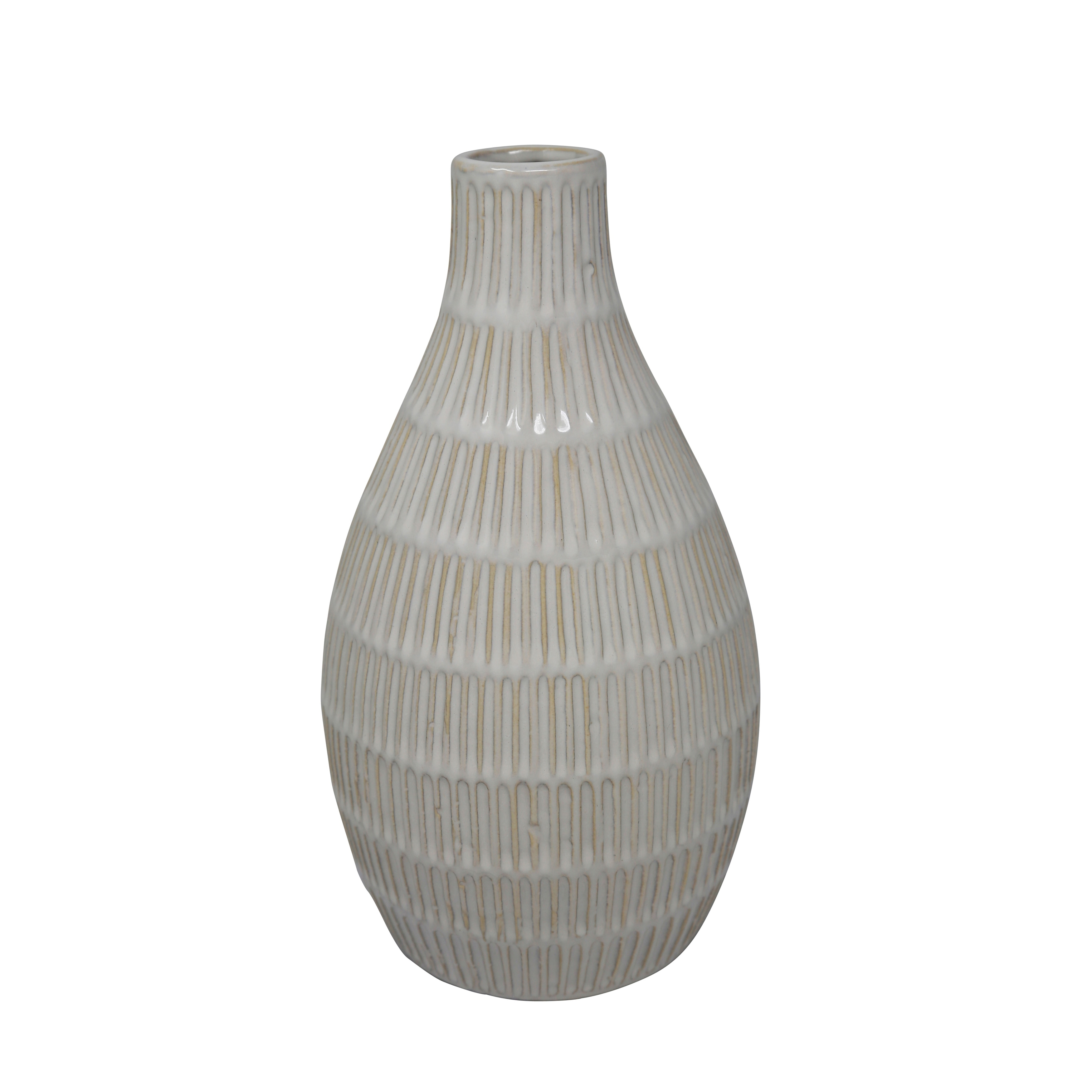 Ceramic Bottle Vase with Embossed Design Pattern, White and Brown