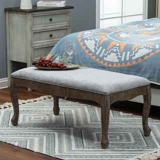 Link to Upholstered Gray Linen Entryway and Bedroom Bench Similar Items in Living Room Furniture