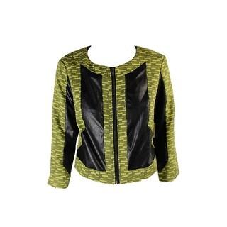 Made For Impulse Juniors Yellow Black Pleather Panel Zip-Up Jacket S