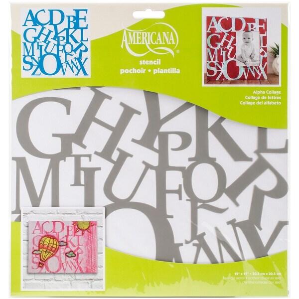 """Americana Decor Stencil 12""""X12""""-Alpha Collage"""