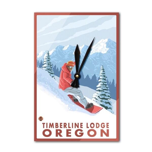 Timberline Lodge OR Snowboarder Scene - LP Artwork (Acrylic Wall Clock) - acrylic wall clock