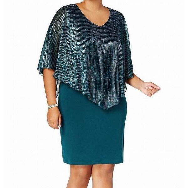 Connected Apparel Teal Green Metallic Cape 20W Plus Sheath Dress