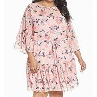 Eliza J Pink Womens Size 20W Plus Floral Bell Sleeve Shift Dress