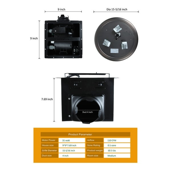 Ultra Quiet Bathroom Exhaust Fan with LED Light and Nightlight 110CFM 1.5 Sone Oil Rubbed Bronze Finish
