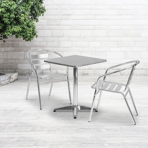 """23.5"""" Square Aluminum Smooth Top Indoor-Outdoor Table with Base - 23.5""""W x 23.5""""D x 27.5""""H"""