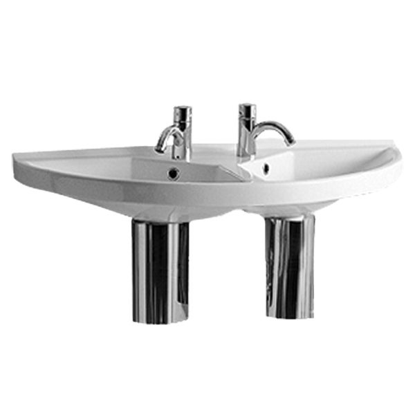 Whitehaus LU020-LUA6 Fixture Lavatory Console Vitreous China from the China series - White/Natural Wood