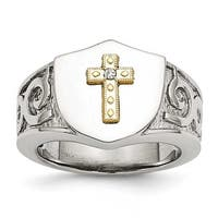 Chisel Stainless Steel with 10K Gold Cross and .02ct Diamond Polished Ring (14 mm)