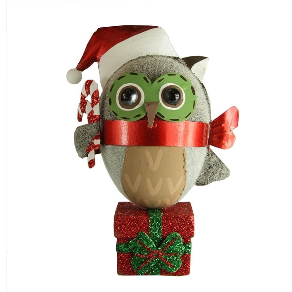 "4.75"" Owl in Santa Hat Perched on a Present with Candy Canes Christmas Ornament - RED"