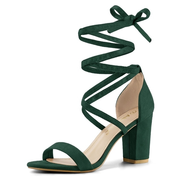 Women's Open Toe Lace Up Chunky High Heel  Sandals. Opens flyout.